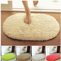 Lint Plush Non Slip Absorbent Bathroom Mat Oval Kitchen Carpet Rug