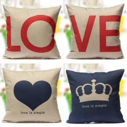 Love Series Kopfkissenbezug Dekor Baumwollleinenkissenbezug Hochzeitsgeschenk