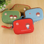 Lovely Canvas Coin Purse Key Card Bag Double Zipper Wallet Home Textiles