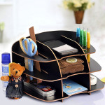 Multilayer Desktop Storage Stand Multipurpose Wooden Sundries Holder Home Textiles