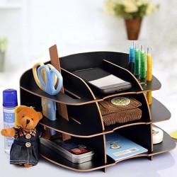 Multilayer Desktop Storage Stand Multipurpose Wooden Sundries Holder