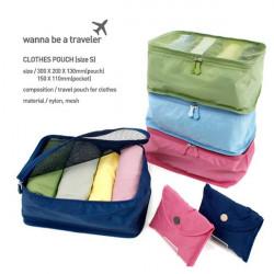 Bærbare Nylon Mesh Rejse Håndtaske Pose Organizer Taske Tidy Clothing