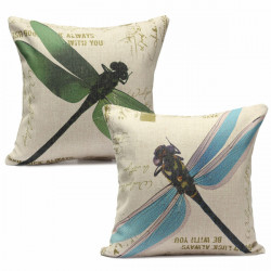 Pretty Dragonfly Sofa Bed Cushion Cotton Linen Pillow Case