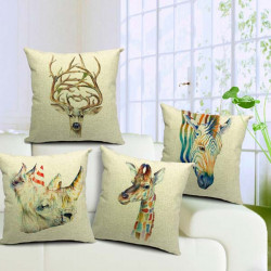 Retro Animal Cotton Pillowcase Cushion Cover Home Decoration