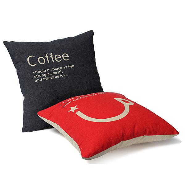 Retro Linne Coffee Kopp Örngott Kuddfodral Heminredning Kuddfodral Hemtextil