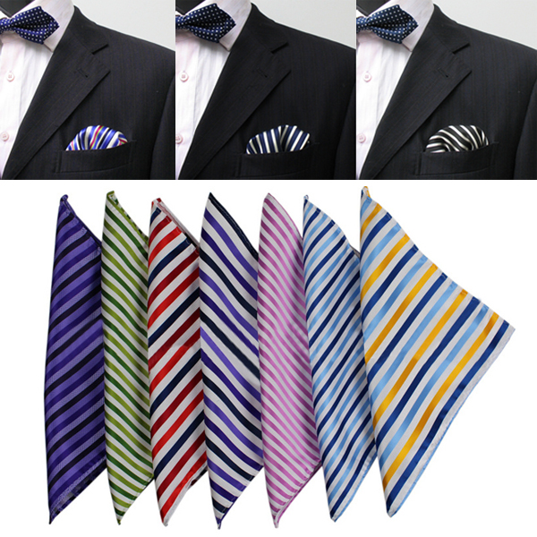Stripe Silk Mens Suit Pocket Square Jacquard Väv Näsduk Silk Halsduk Hemtextil