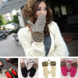 Winter Soft Mitten Girls Womens Knitting Wool Thickened Gloves