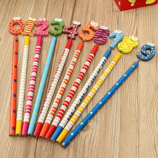 10stk Dejlig Nummer 0 Og 9 Tegneserie Sød Set School Pencil Brevpapir Kontorartikler