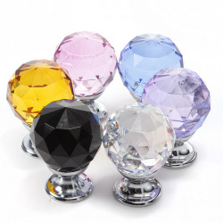 30mm Diamond Crystal Knob Cabinet Door Drawer Cupboard Pull Handle