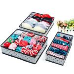 3 PCS Multicolor Dot Non-woven Underwear Bra Storage Box Housekeeping