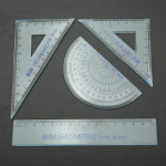 4stk School Matematik Set Plast Vinkelmåler Square Ruler Set Kontorartikler