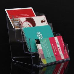 4 Lommer Klar Akryl Visitkort Holder Desktop Kontor Counter
