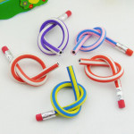 5 X Colorful Magic Flexible Bendy Pencils With Erasers For Kids Stationery