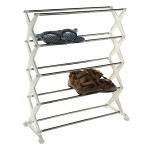 5 tier Foldable Stainless Steel Shoe Rack Shoes Storage Housekeeping
