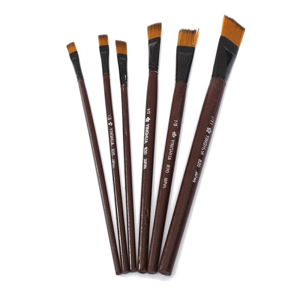 6st Brun Tips Nylon Penslar för Konst Konstnär Kontorsmaterial