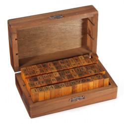 70stk Nummer Alfabet Bogstaver Træ Stamp med Træ Box