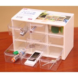 9 Lattice Portable Mini Desktop Drawer Cosmetic Jewelry Förvaring Box
