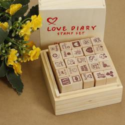 Antike hölzerne Schachteln Love Tagebuch Muster Briefmarken Rubber Zeichnung Kunst