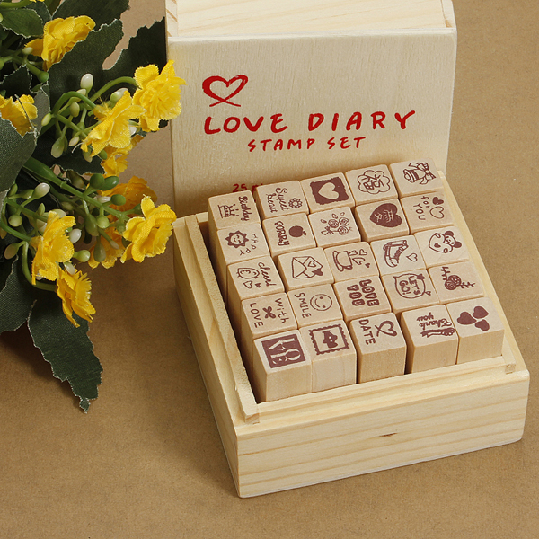 Antique Wooden Boxes Love Diary Pattern Stamps Rubber Drawing Art Stationery