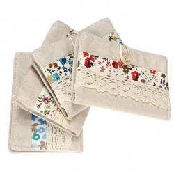 Canvas Lace Fabric Card Pack Postkort Kreditkort Pung Kortholdere