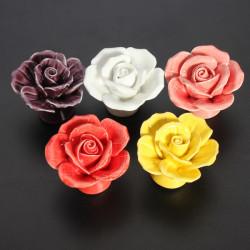 Ceramic Rose Flower Door Knobs Pull Handle