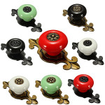 Ceramics Door Drawer Knob With Base Pull Handle  8 Styles Housekeeping