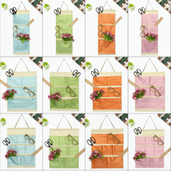 Bomull Polka Dot Pockets Vägg Dörr Hanging Förvaring Bag