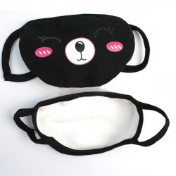 Cute Black Cartoon Pattern Comfort Windproof Dustproof Mask