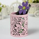 Hollow Out Rose Metal Round Borste Pot Penna Förvaring 4 Colors Kontorsmaterial