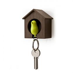Hus Fågelboet Sparrow Nyckelring Ringmuren Hook Hållare Whistle