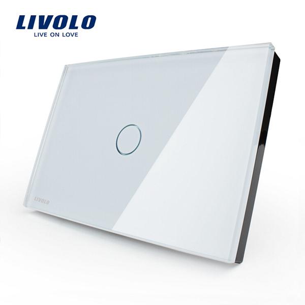 LIVOLO Glas Touch Væg Lyskontakt VL-C301-81 / 82 1 Gang Smart Hjem