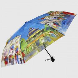 Landskab Oliemaleri Style Automatisk Folding Paraplyer