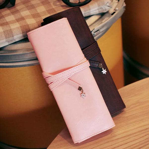 Läder Sakura Penna Pencil Väska Case Arrangör Pouch Bag Kontorsmaterial
