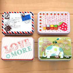 Mini Farb Point Girl Button Style Hochzeit Zucker Gift Tin Boxen