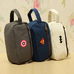 Pencil Pen Case Makeup Brushes Bag Cosmetic Canvas Pouch Handbag