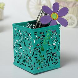 Rektangel Hollow Out Rose Metal Børste Pot Pen Container 4 Farver