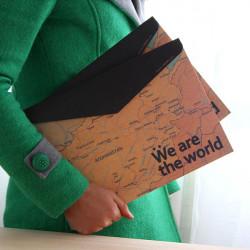 Stationery Vintage World Map Horizontal Paper Folder Bag