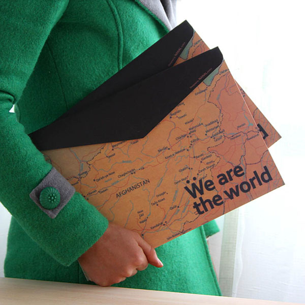 Schreibwaren Weinlese Weltkarte Horizontal Papier Ordner Tasche Bürobedarf