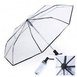 Transparent Fashion Full Automatic Three Folding Rain Umbrellas