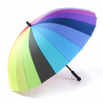 Universal 24 Bone Rainbow Long-handled Rain Sun Men Women Umbrellas Housekeeping