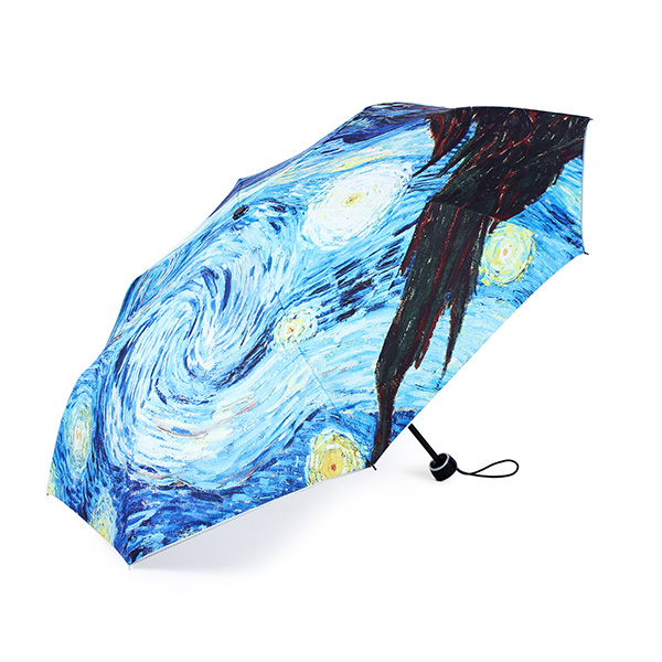 Van Gogh Starry Night Målning Sol Regn Vikbart Anti-UV Paraply Hushållsredskap
