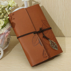 Vintage Leaf PU Leather Bound Journal Diary Travel Blank Notebook