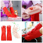 Waterproof Lengthen Latex Dishwashing Cleaning Gloves 38CM Antiskid Housekeeping