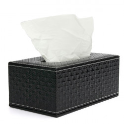 Wearproof PU Leather Tissue Paper Box Cover Case With Magnet