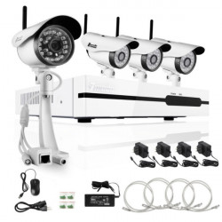 Zmodo 4CH 720P HD Network NVR Trådløs IR-CUT Sikkerhed Kamera ZP-KB1I04-W