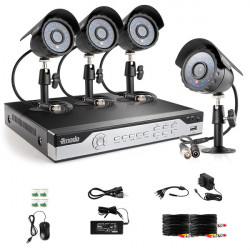 Zmodo 4CH 960H Real-time DVR 600TVL Lines IR Udendørs Bullet Kamera ZM-I4Q4