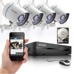 Zmodo 720P PoE NVR HD Nachtsicht Überwachungskameras 1TB HDD ZP KE1T04 S 1 TB Smart Home