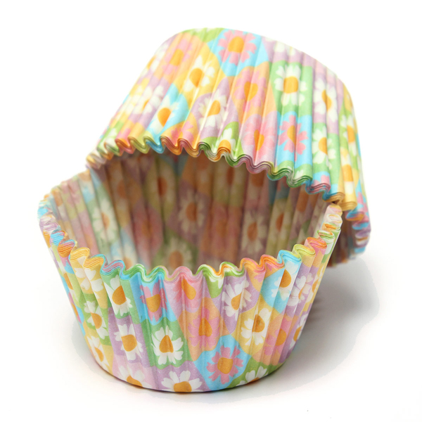 100Pcs Flower Print Paper Cupcake Cake Muffin Cup Party Wedding Kitchen,Dining & Bar