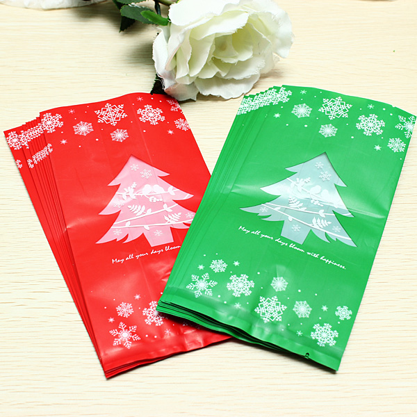 100Pcs Long Section Christmas Tree Gift Bags Christmas Decoration Kitchen,Dining & Bar