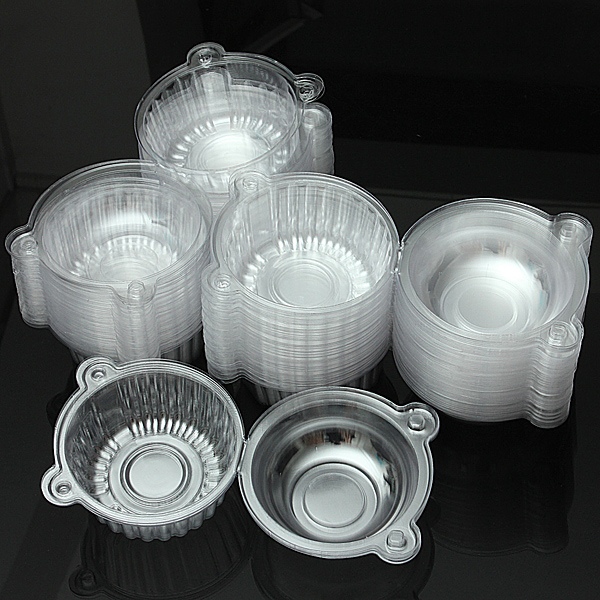 100Pcs Round Clear Cupcake Muffin Cookie Food Box Holder Container Kitchen,Dining & Bar